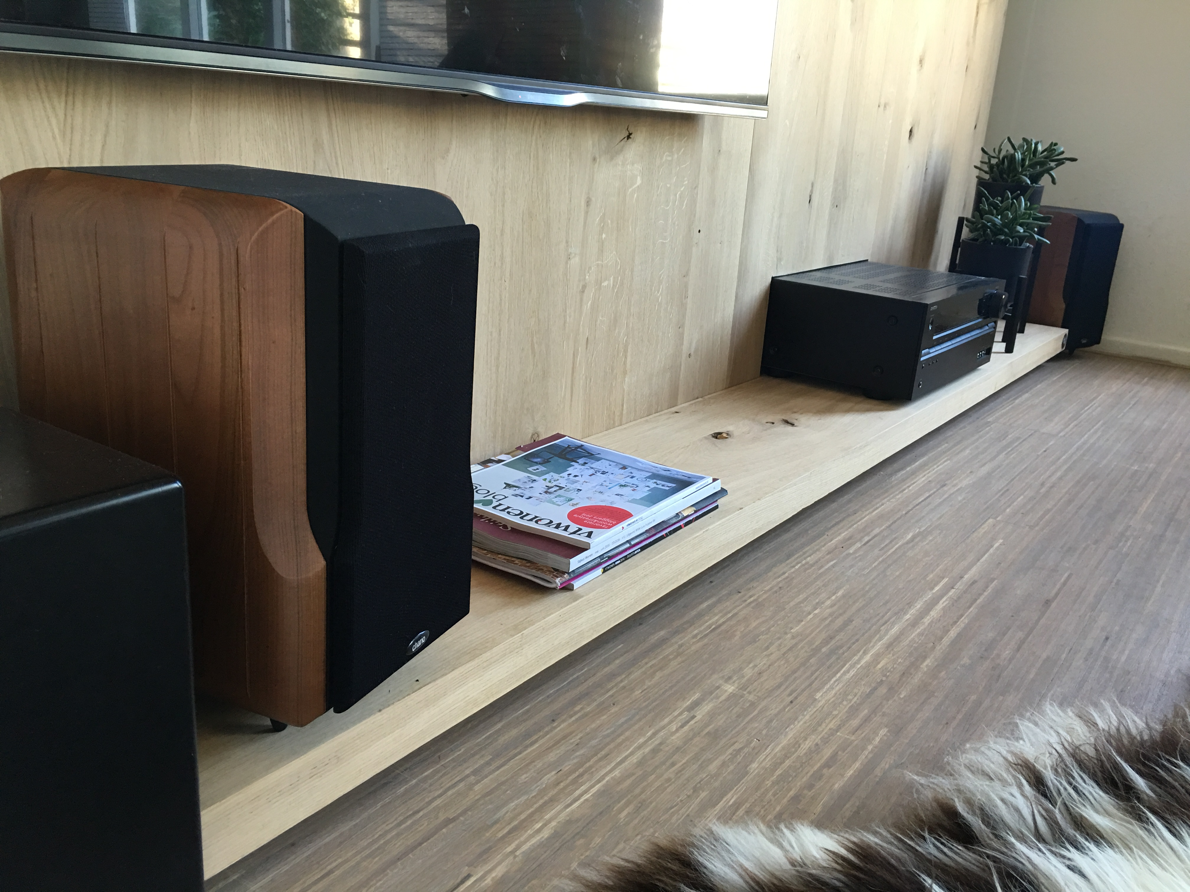 tv media wand awesome cabrini tv stand and floating wall tv panel with led lights in nut brown. Black Bedroom Furniture Sets. Home Design Ideas